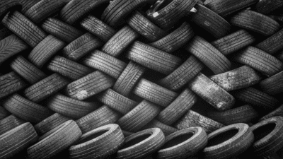 a big pile of tires