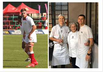 tyron on a sports field and with other chefs