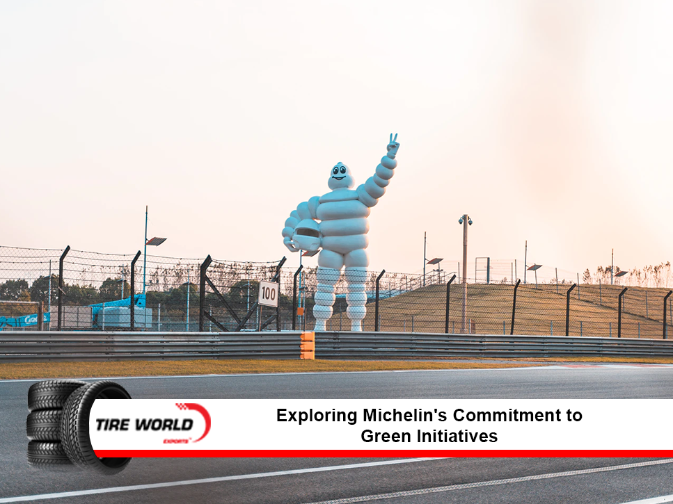 Michelin statue next to a raceway