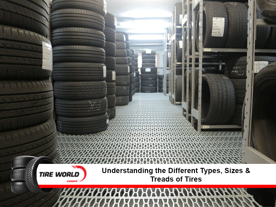 Different types of tires in a tire warehouse