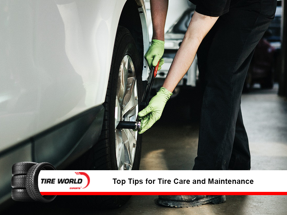 Tire being assessed for maintenance